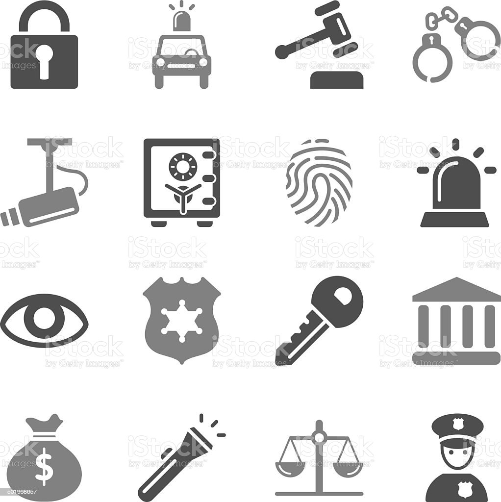 Security Icons Gray Color vector art illustration