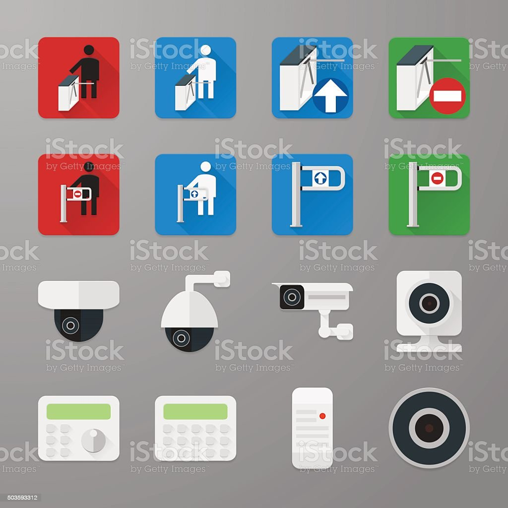 Security icons set 3 vector art illustration