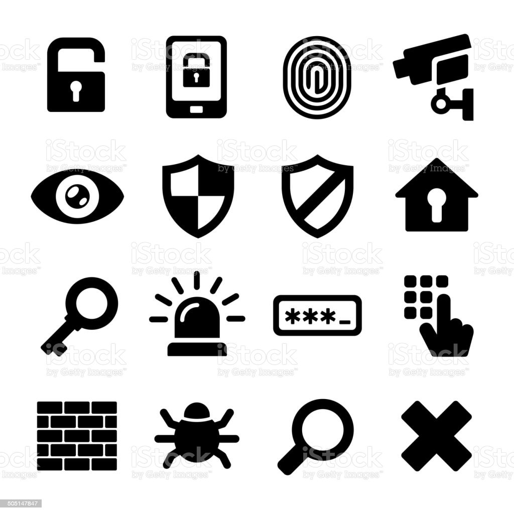 Security Icons Set vector art illustration