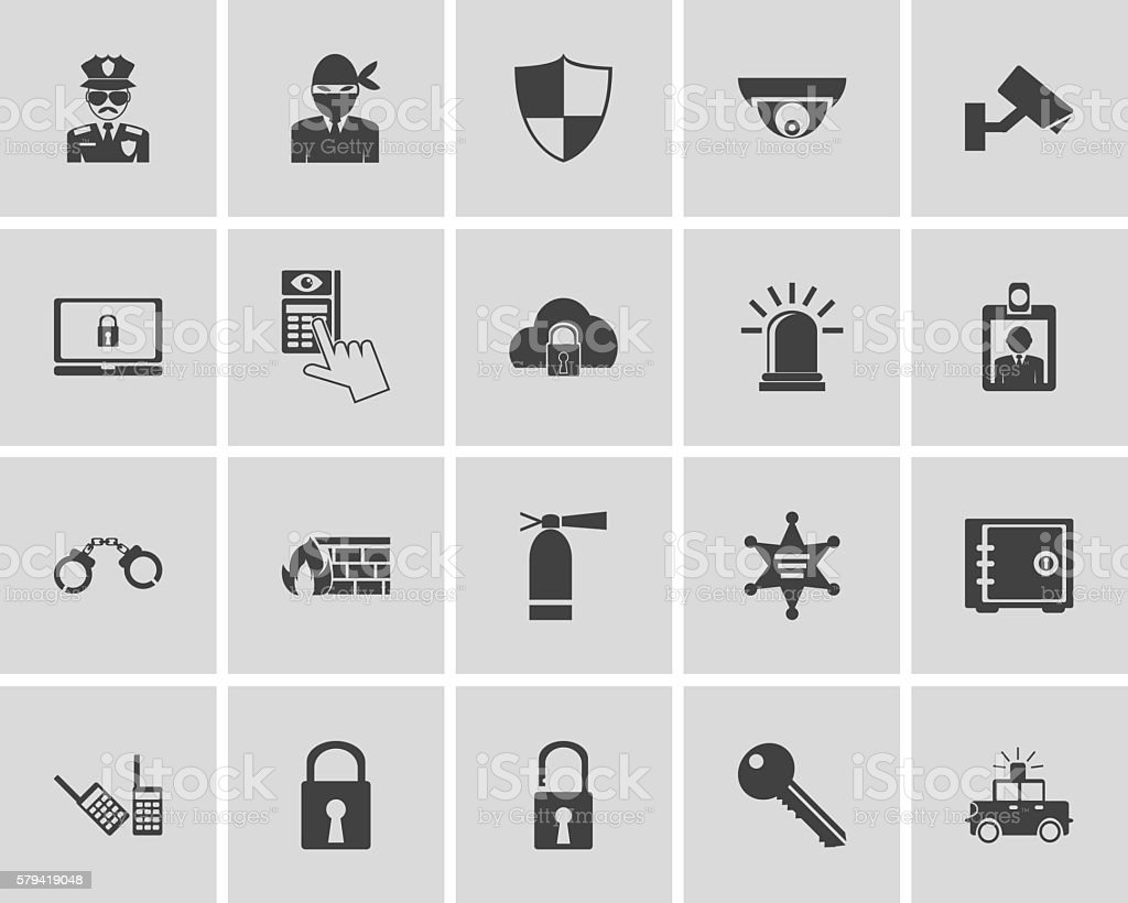 security icons vector art illustration