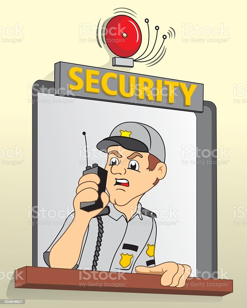 security in guardhouse, talking on the radio about alarm vector art illustration