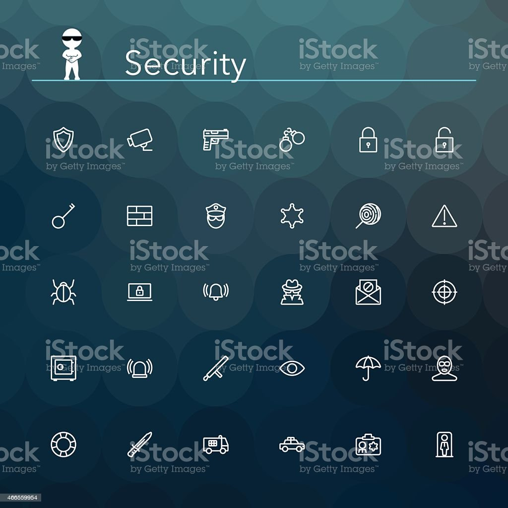 Security Line Icons vector art illustration
