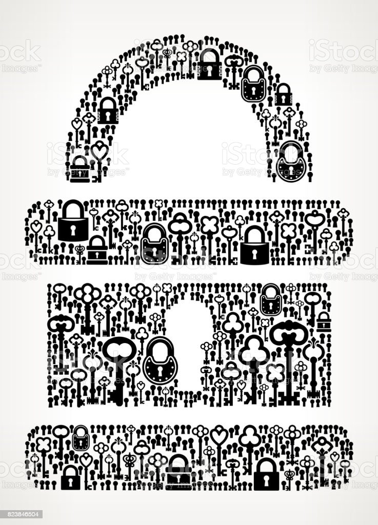Security Lock  Antique Keys Black and White Vector Pattern vector art illustration