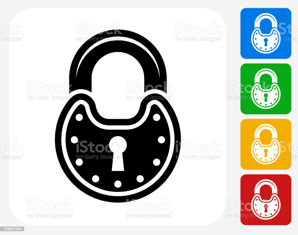 Security Lock Icon Flat Graphic Design vector art illustration