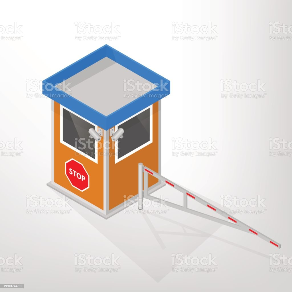 Security lodges with a mechanical barrier isometric, vector illustration. vector art illustration