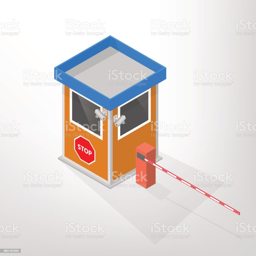 Security lodges with automatic barrier isometric, vector illustration. vector art illustration