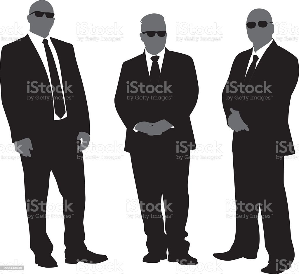 Security Men in Suits Silhouettes vector art illustration