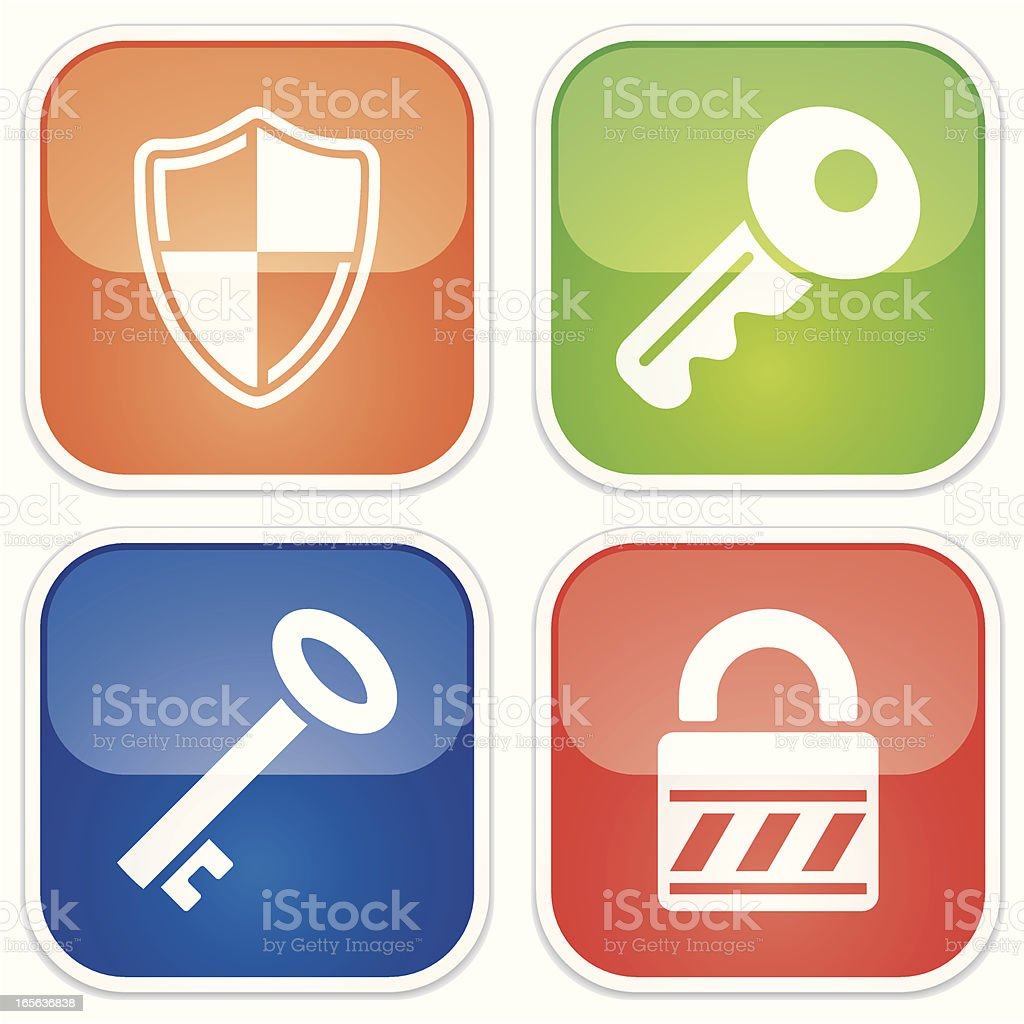 security miniset - Quadro Glossy royalty-free stock vector art