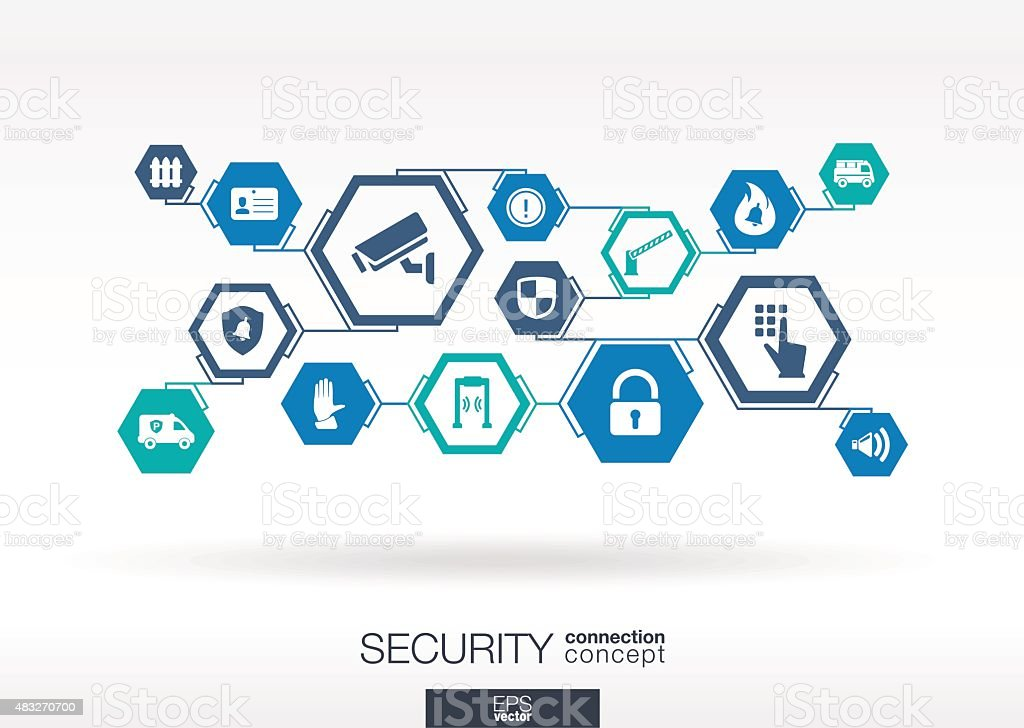 Security network. Hexagon abstract background with lines, polygons, integrate icons. vector art illustration