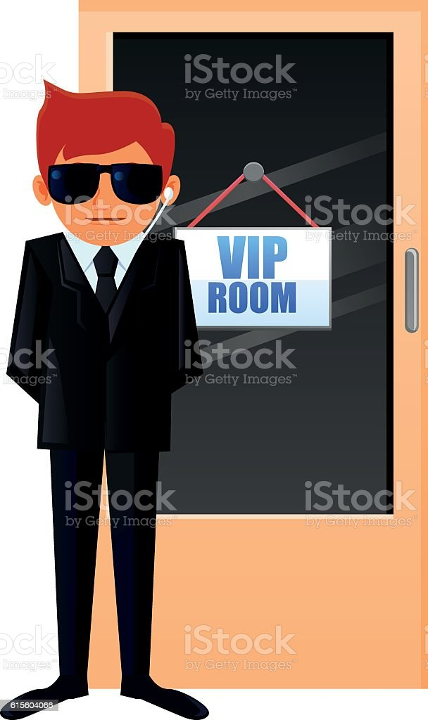 Security personnel guarding a VIP room vector vector art illustration