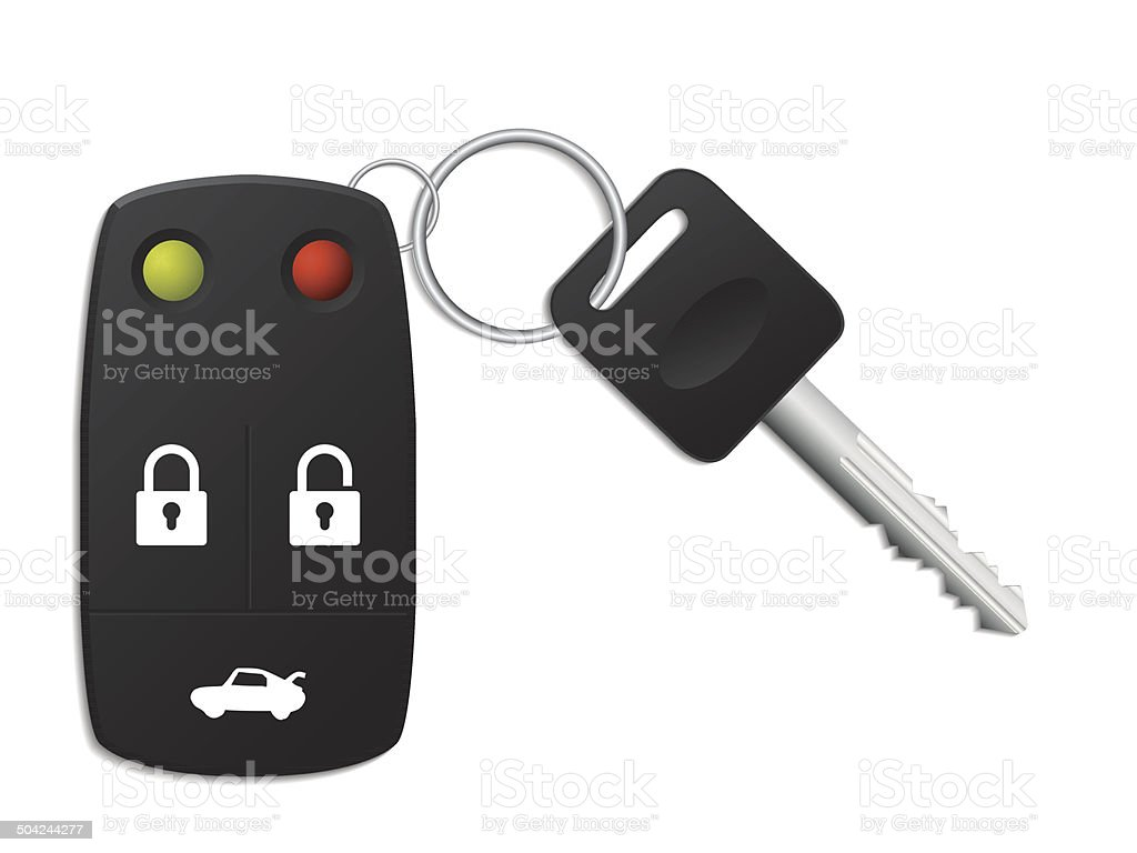 Security remote control for your car vector art illustration