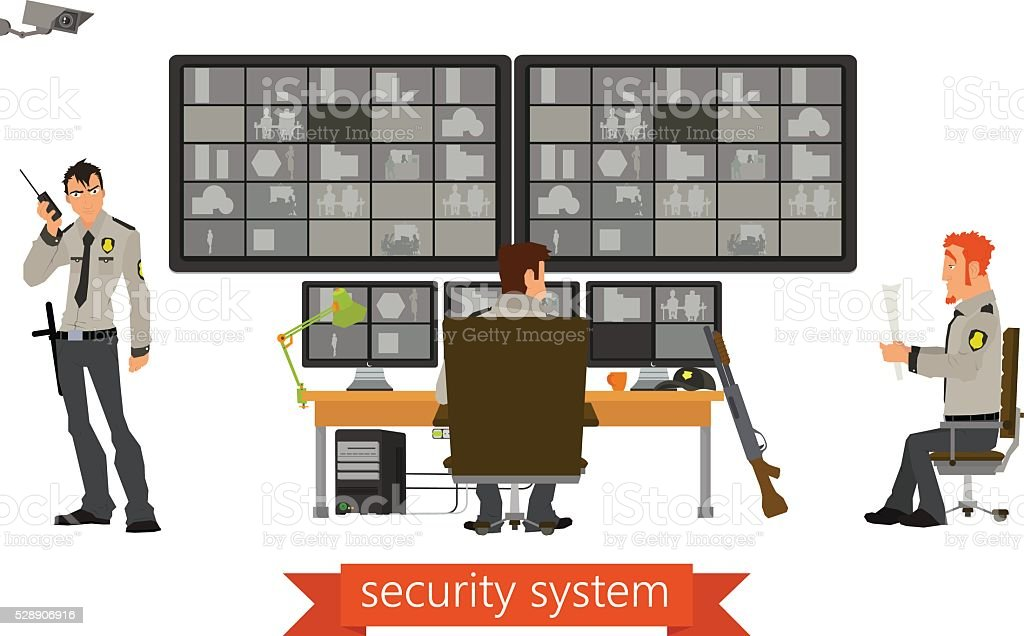 security room in which working professionals. surveillance cameras. vector art illustration