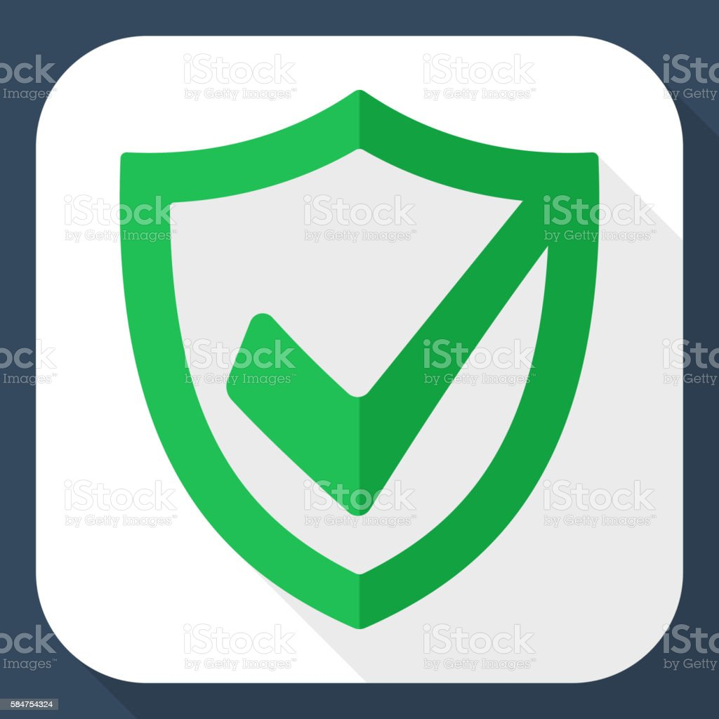 Security shield icon with long shadow vector art illustration