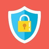 Security shield lock icon. Creative flat design vector illustration