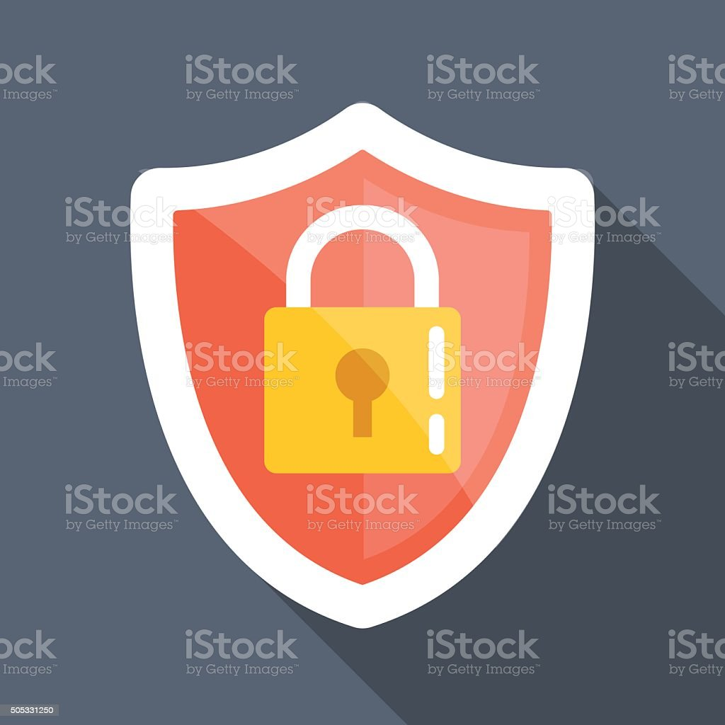Security shield long shadow vector flat icon vector art illustration