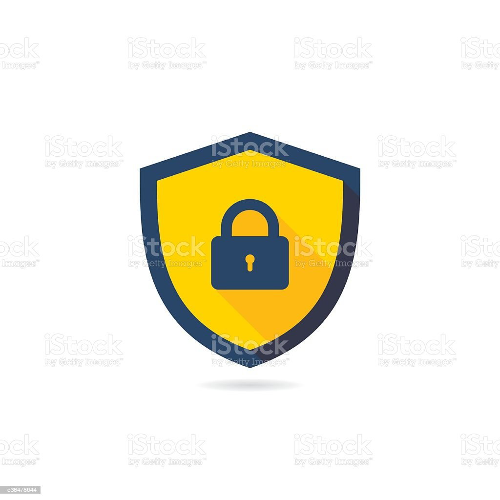 Security Shield Vector Icon With Long Shadow vector art illustration