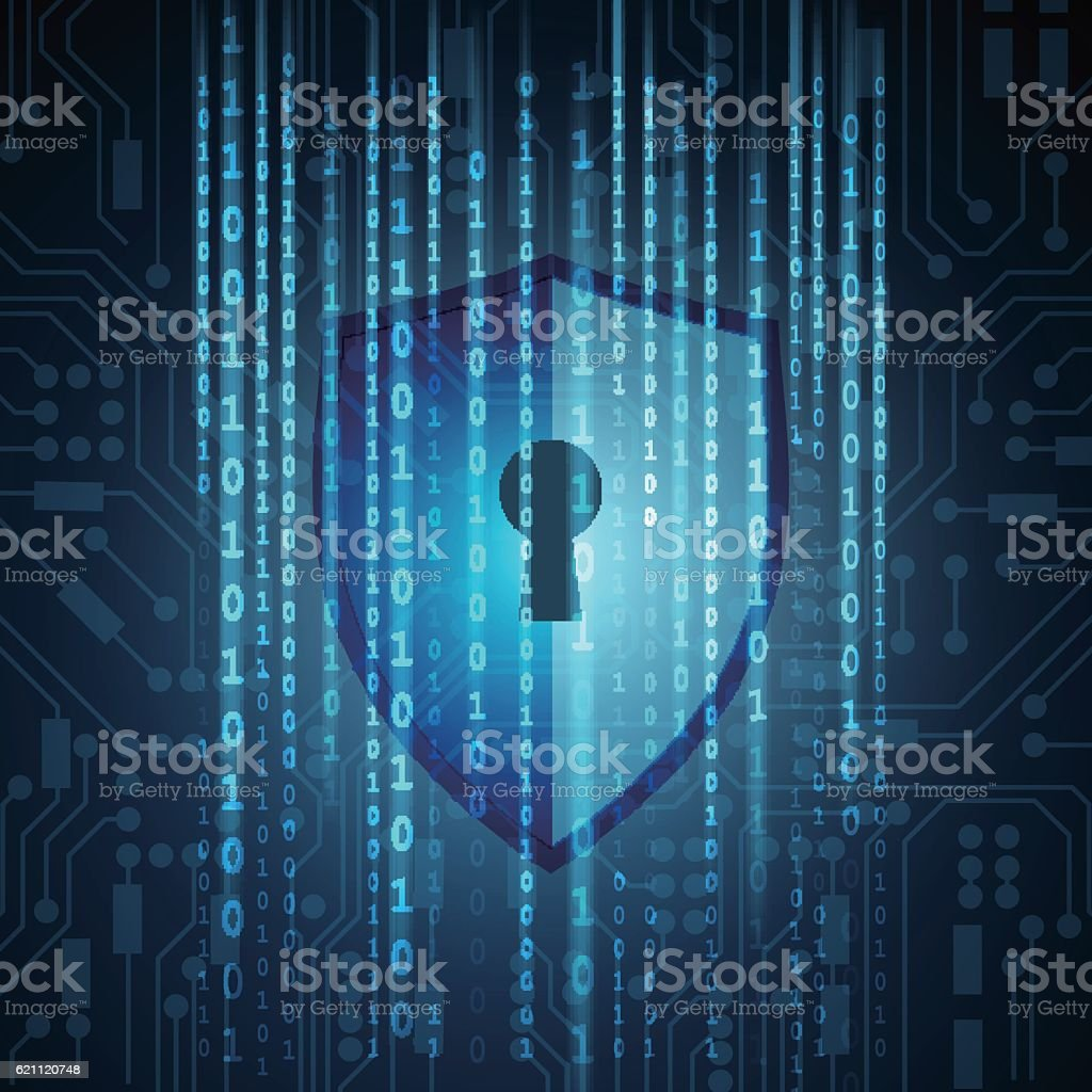 Security shield with matrix binary on circuit board background vector art illustration