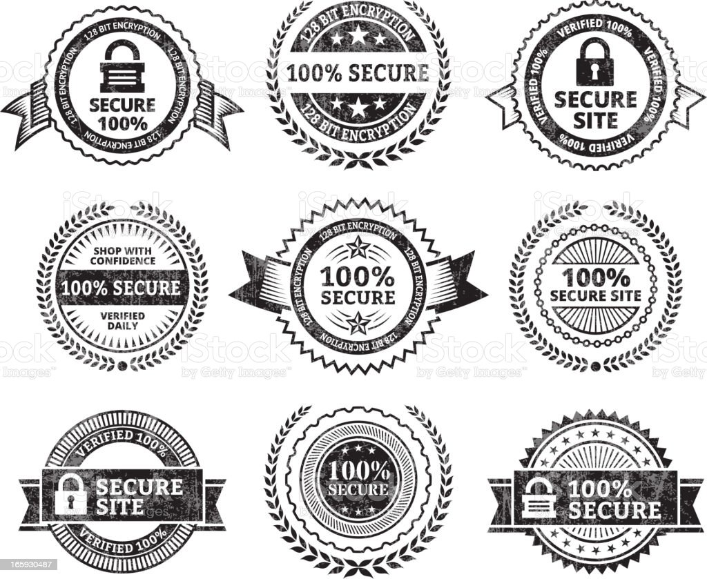 Security Site black & white icon set vector art illustration