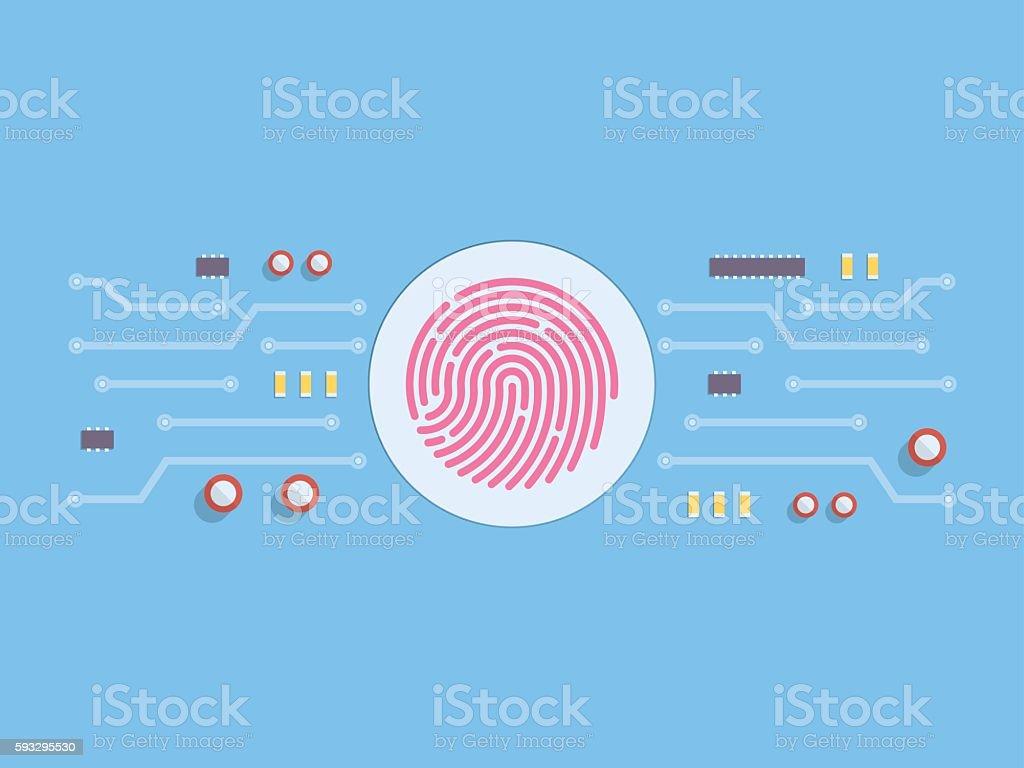 Security system concept and fingerprint vector art illustration