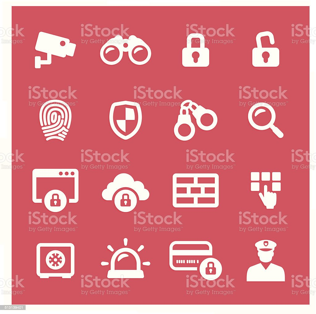 Security System Icons vector art illustration