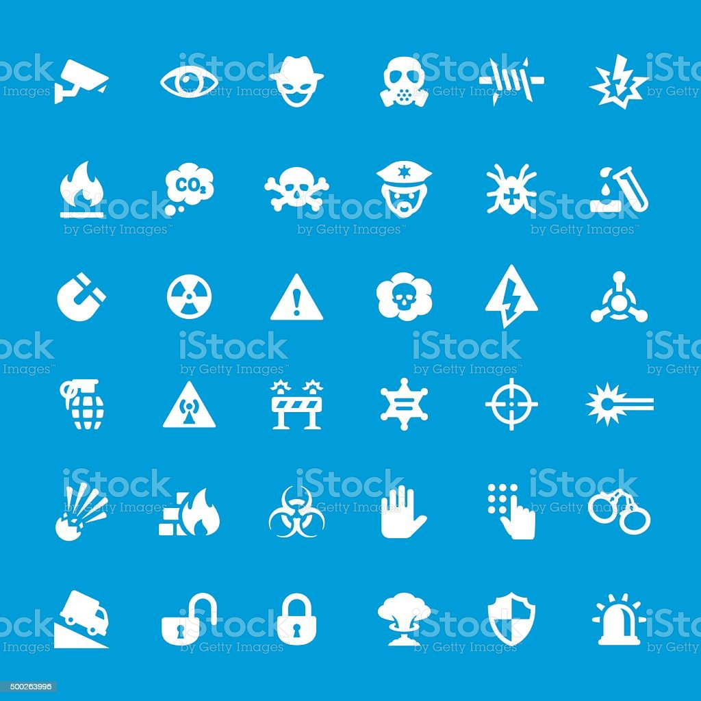 Security System vector icons set vector art illustration