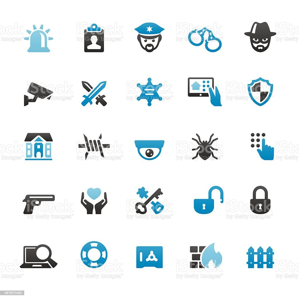 Security Systems vector icons vector art illustration