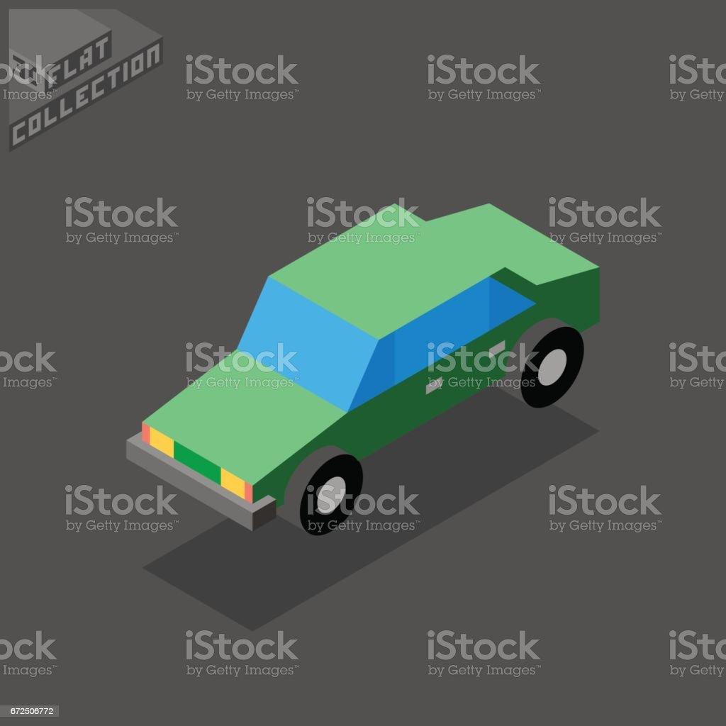 Sedan Car Icon. 3D Isometric Low Poly Flat Design. vector art illustration