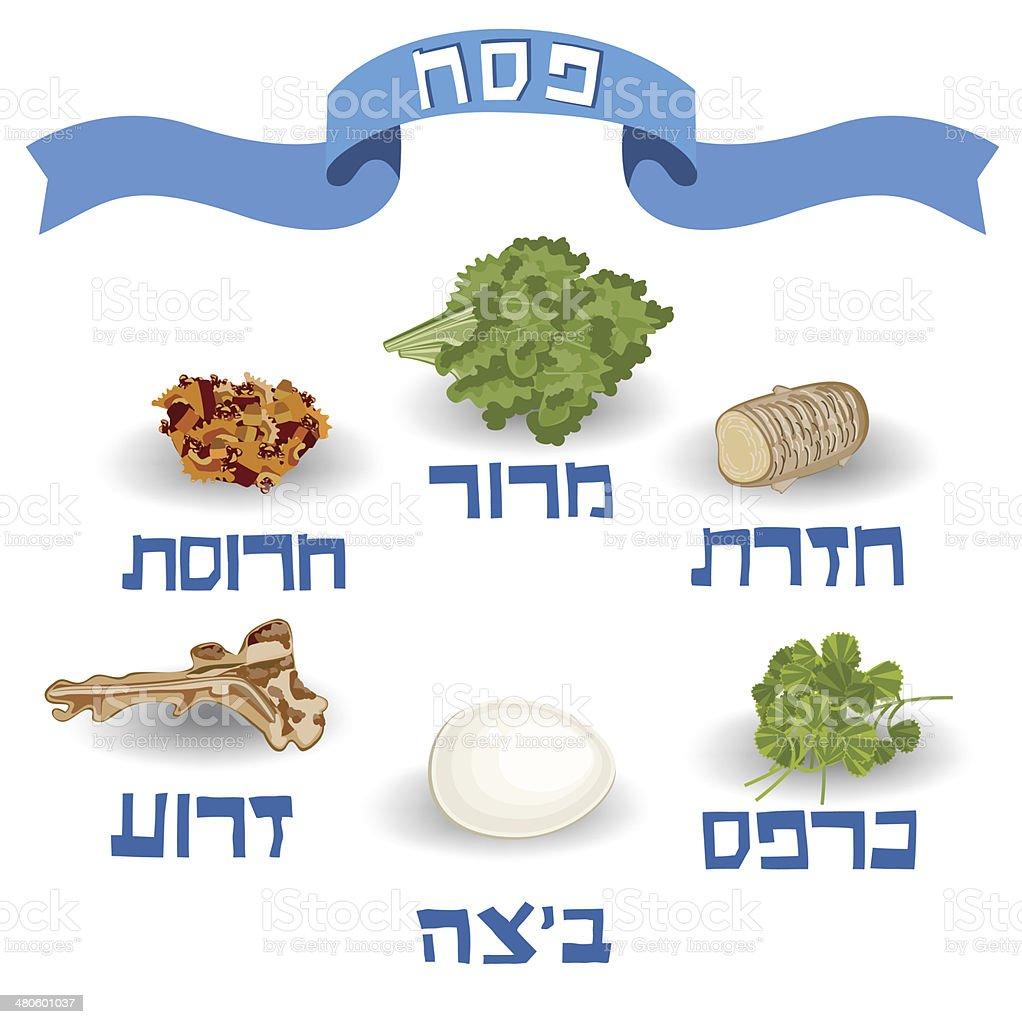 Seder Passover, Traditional Food vector art illustration
