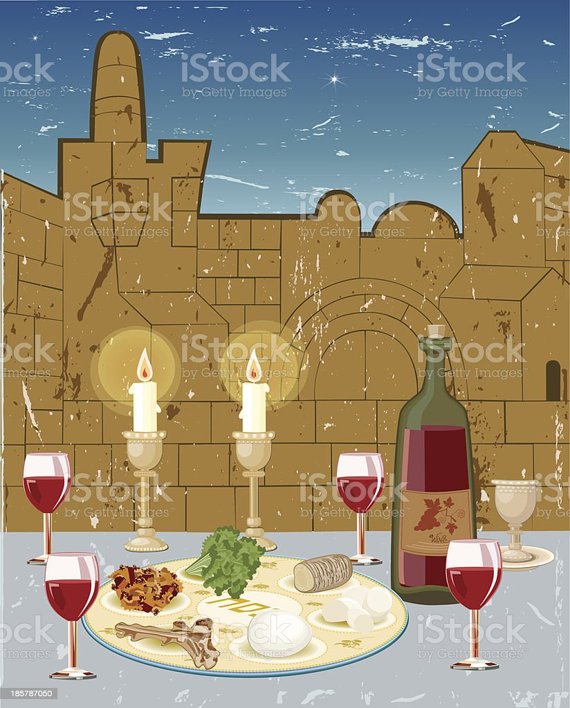 Seder Passover vector art illustration