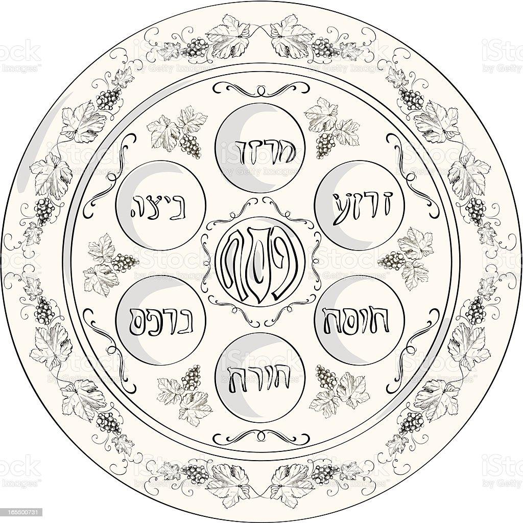 Seder plate vector art illustration