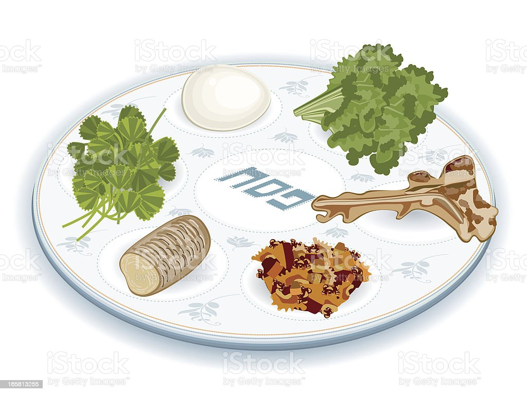 Seder Plate With Traditional Food vector art illustration