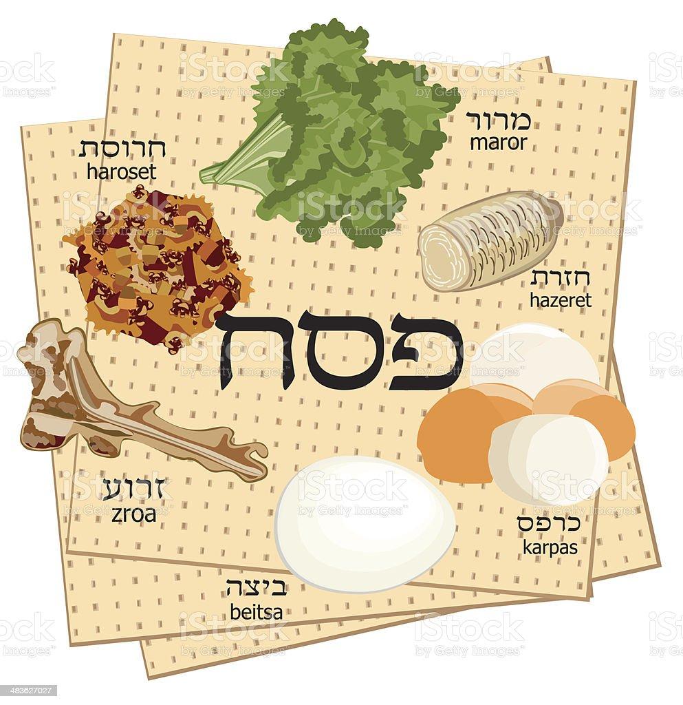 Seder  Traditional Food on Mazoth Backround vector art illustration