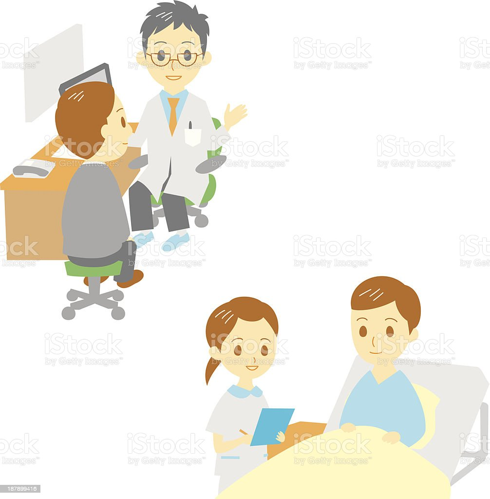 see a doctor and in hospital, man royalty-free stock vector art