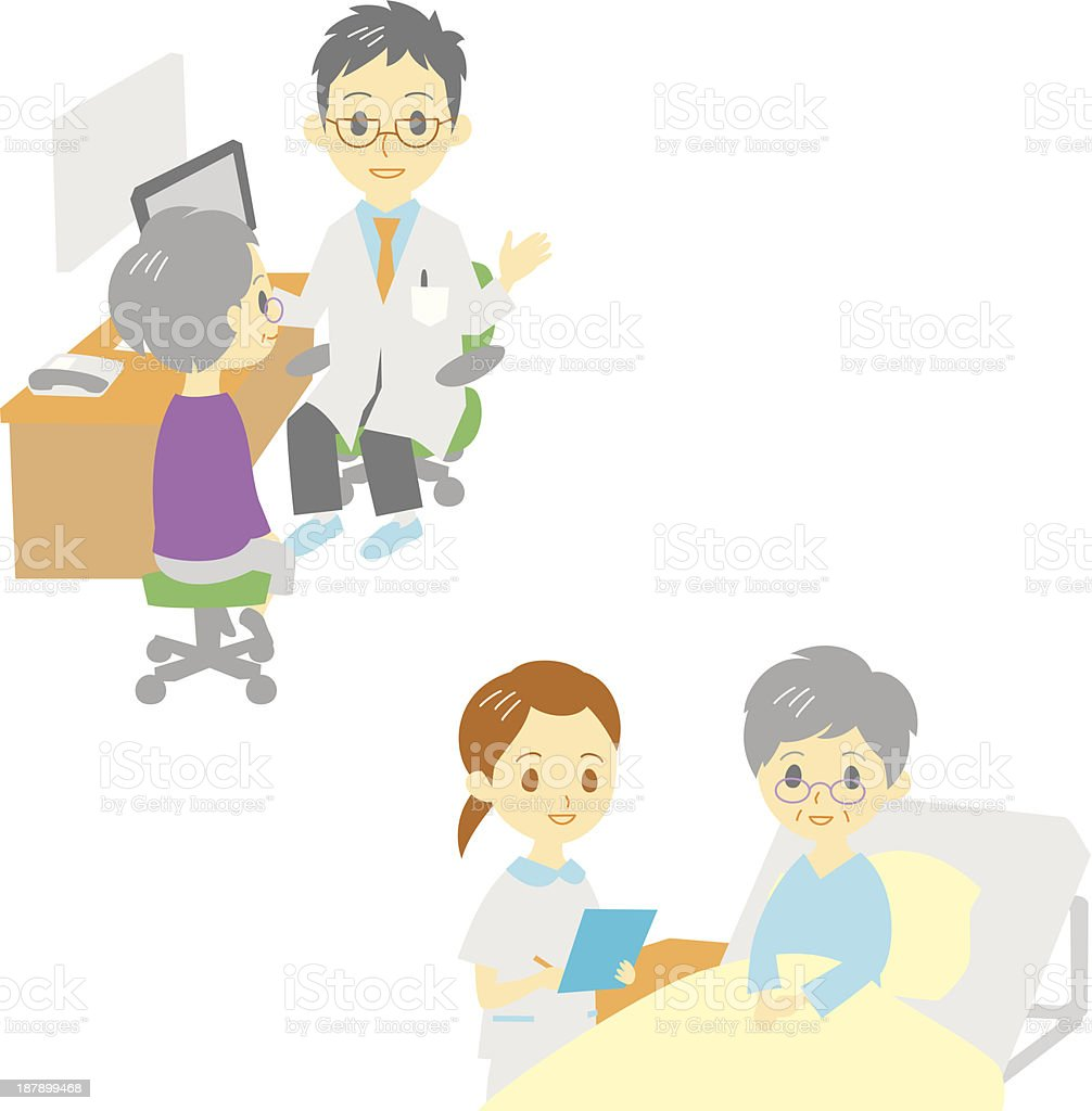 see a doctor and in hospital, old woman royalty-free stock vector art