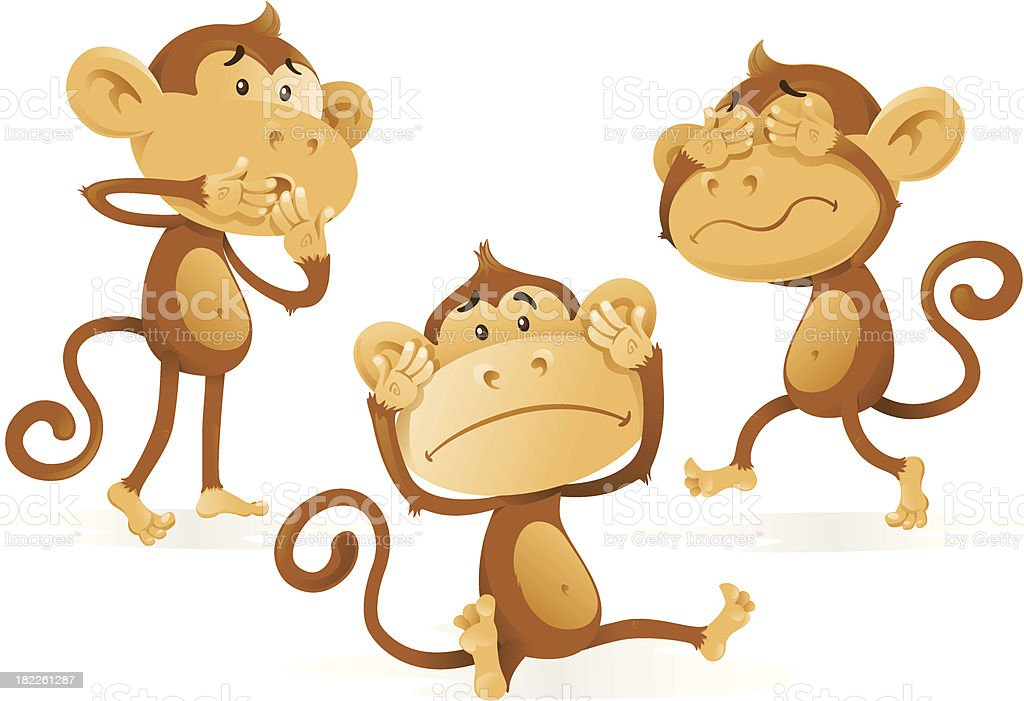 See Hear Speak No Evil Monkeys royalty-free stock vector art