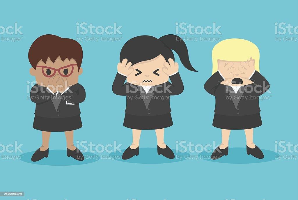 See no evil, hear no evil, speak no evil vector art illustration