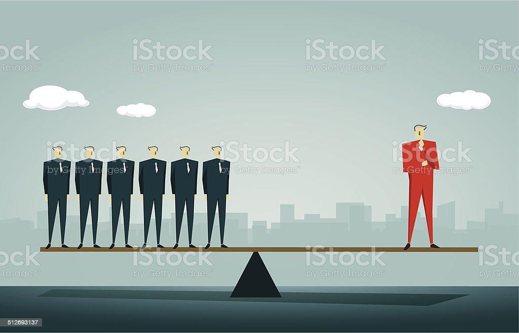 Seesaw vector art illustration