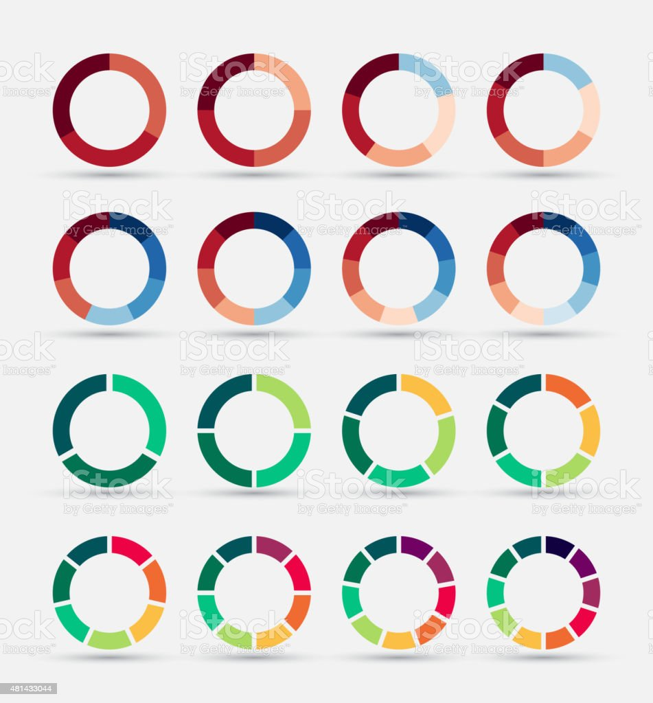 Segmented and multicolored pie charts set. vector art illustration