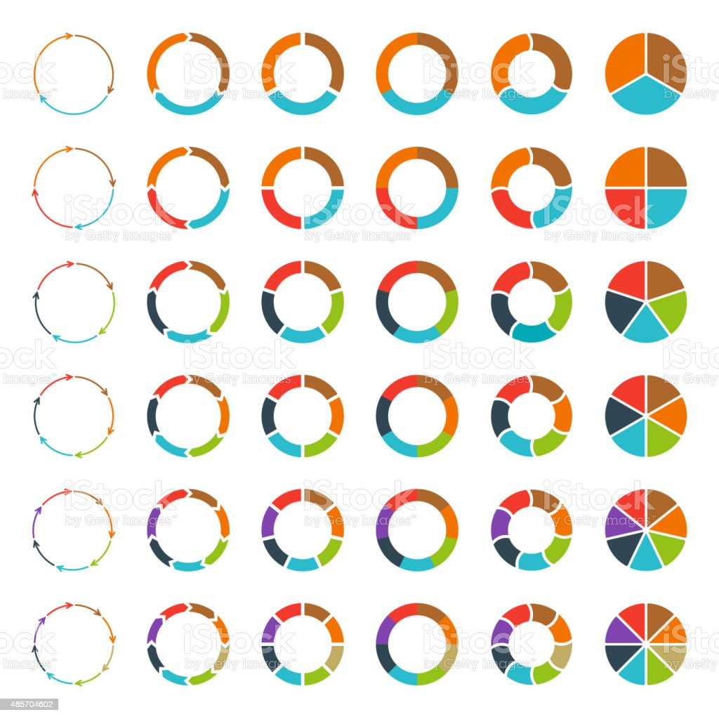 Segmented pie charts and arrows set. vector art illustration