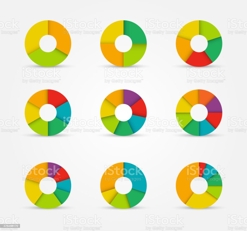 Segmented pie charts set from 3 to 8 divisions. vector art illustration