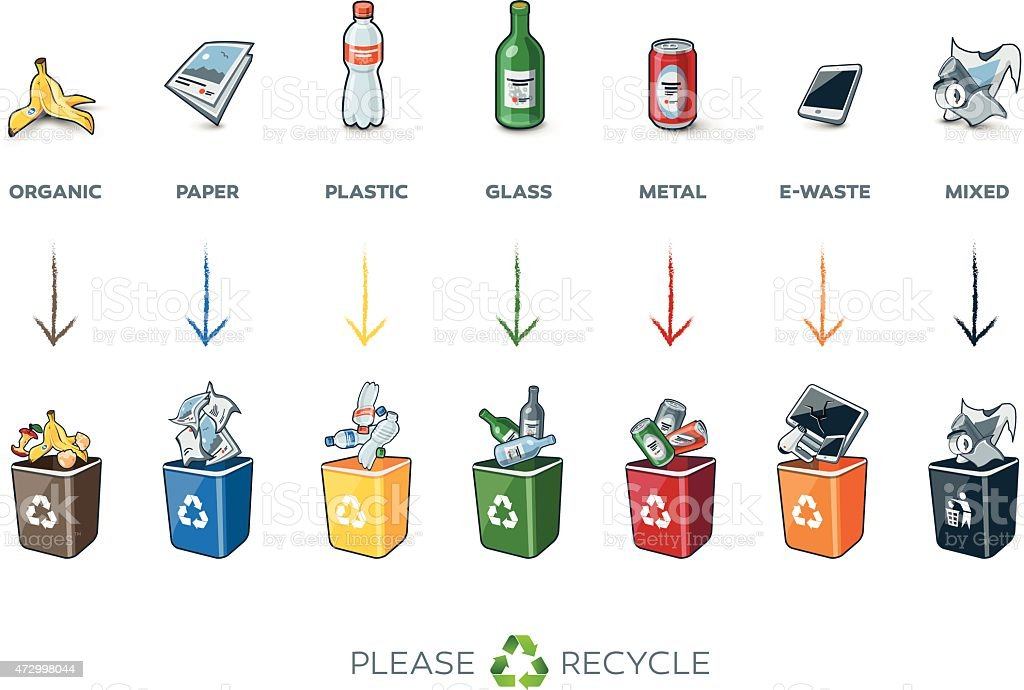 Segregation Recycling Bins with Trash vector art illustration
