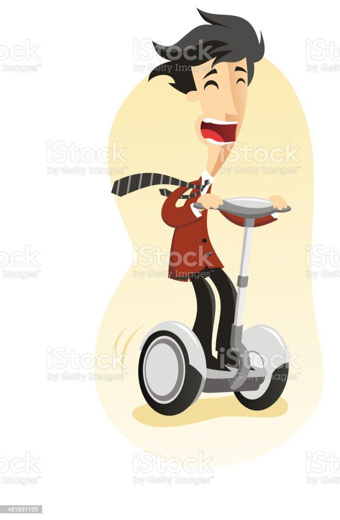 Segway riden by Happy Man vector art illustration