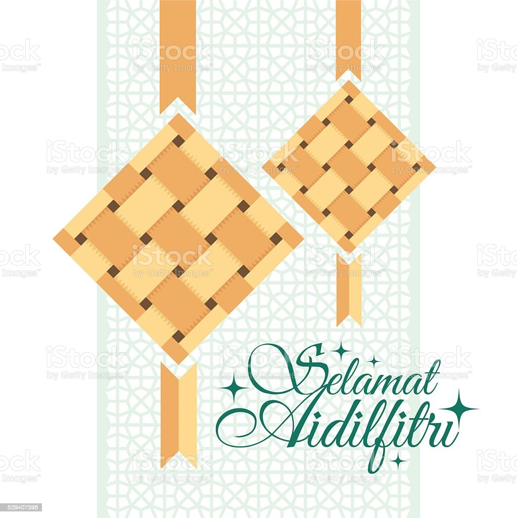 Selamat Aidilfitri greeting card. vector art illustration