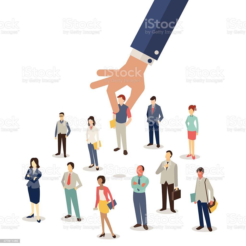 Selected employee vector art illustration