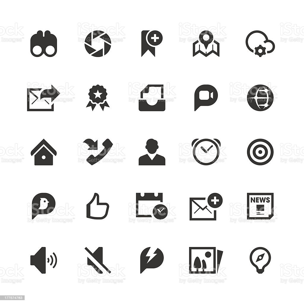 A selection of black social media icons on a white backing royalty-free stock vector art