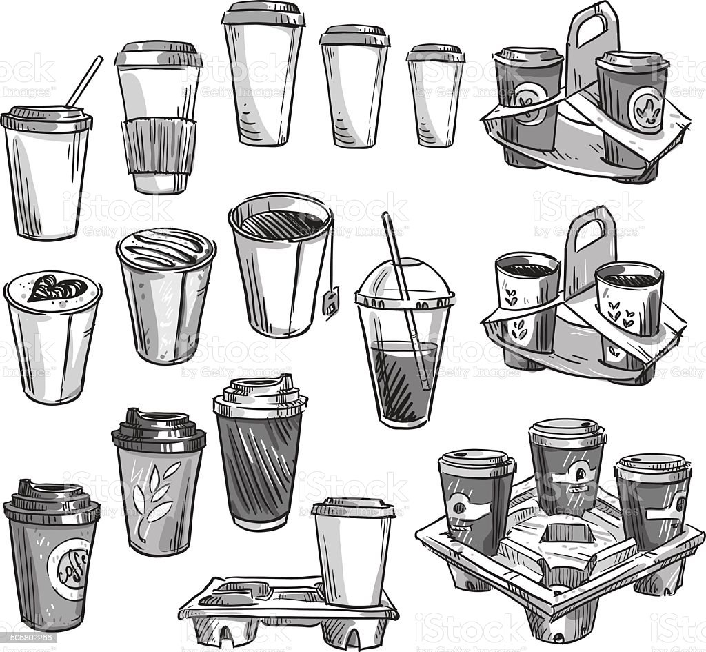 selection of coffee takeaway cups and carrier trays. Packaging. vector art illustration