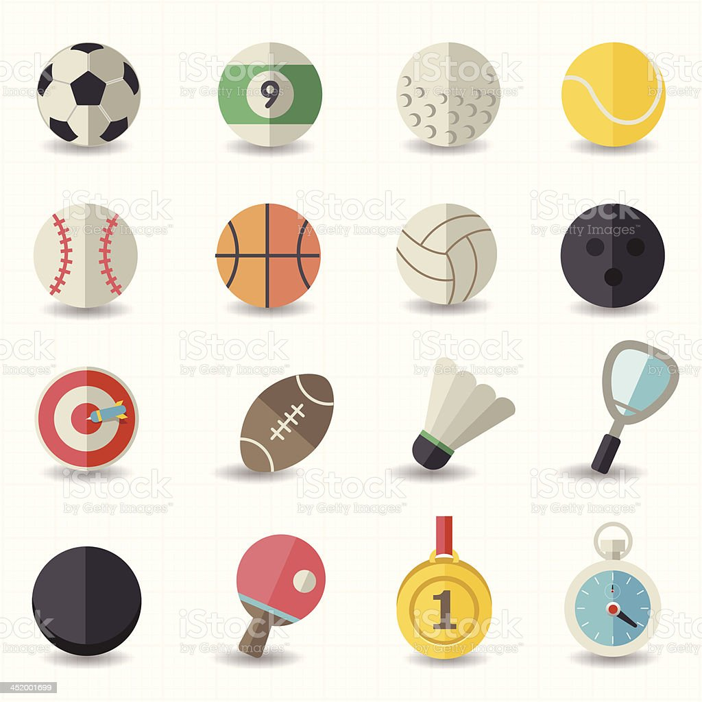 Selection of colored sports icons vector art illustration