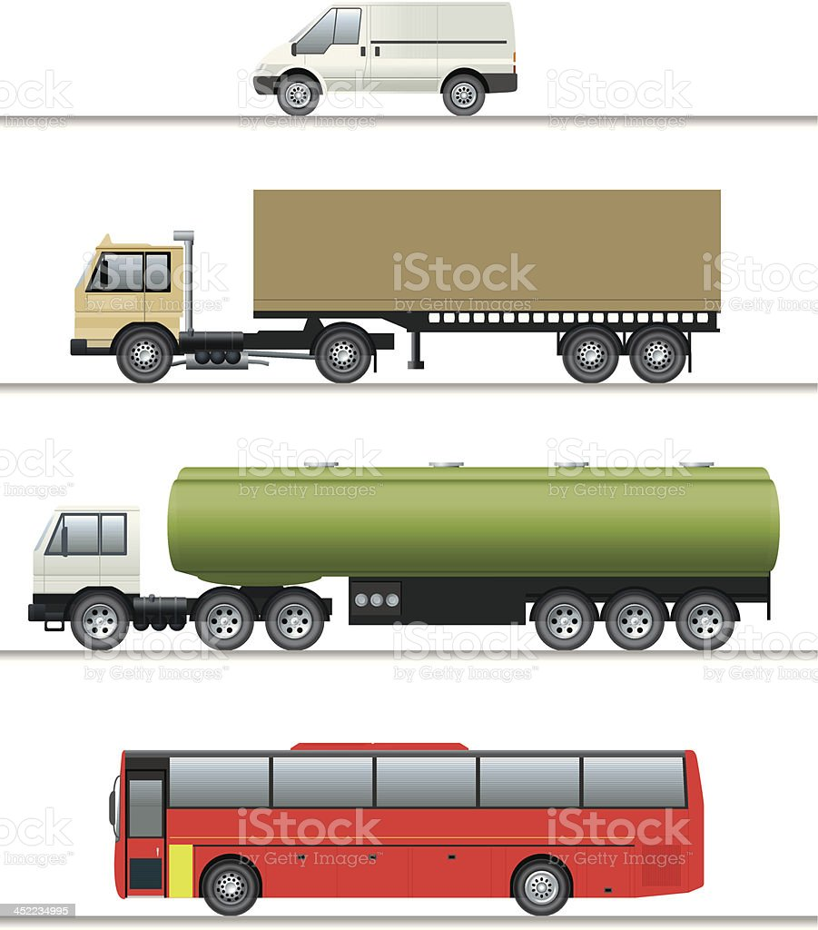 Selection of commercial vehicles elevations royalty-free stock vector art