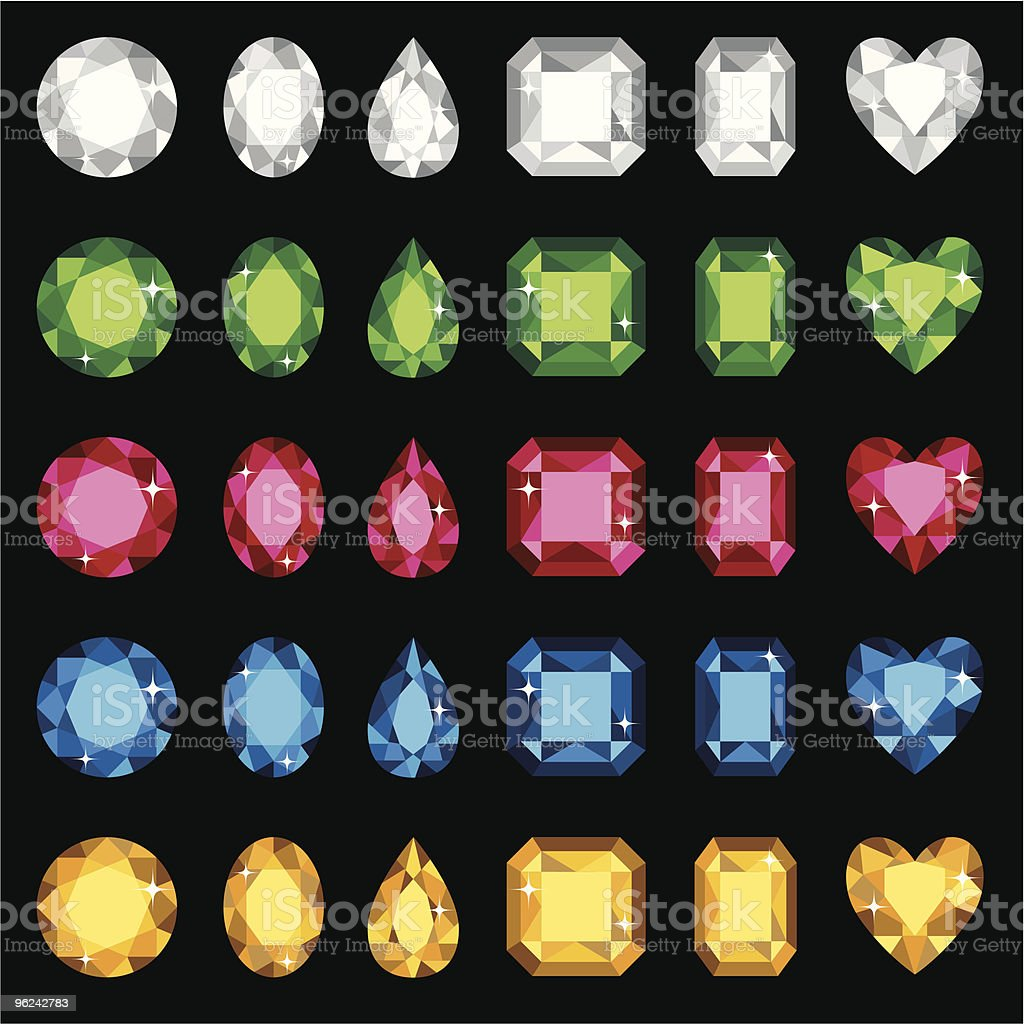 Selection of different colored and shaped gemstones vector art illustration
