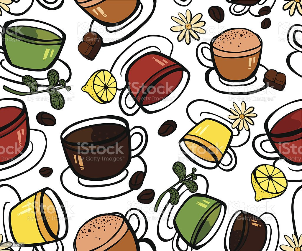 Selection of Different Hot Drinks royalty-free stock vector art
